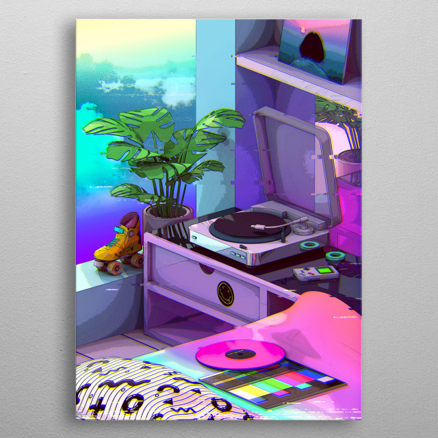 80s japanese city pop and vaporwave aesthetic design metal poster