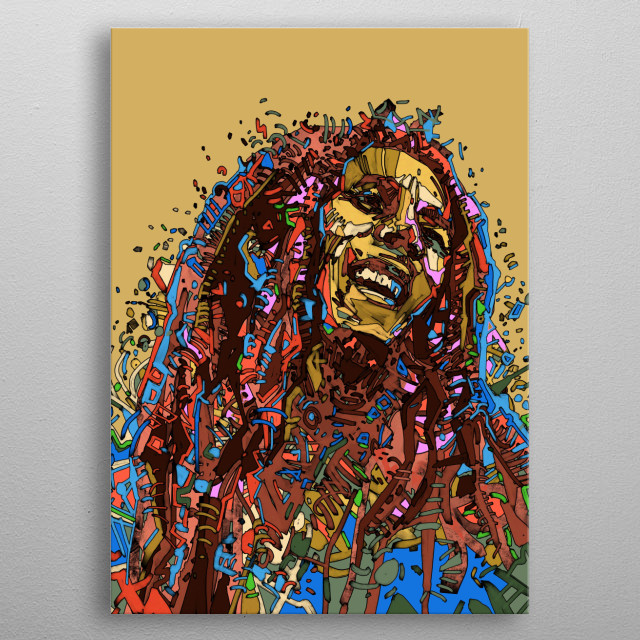 Portrait of Bob Marley inspired by drawing,colorful,digital,pop art design metal poster