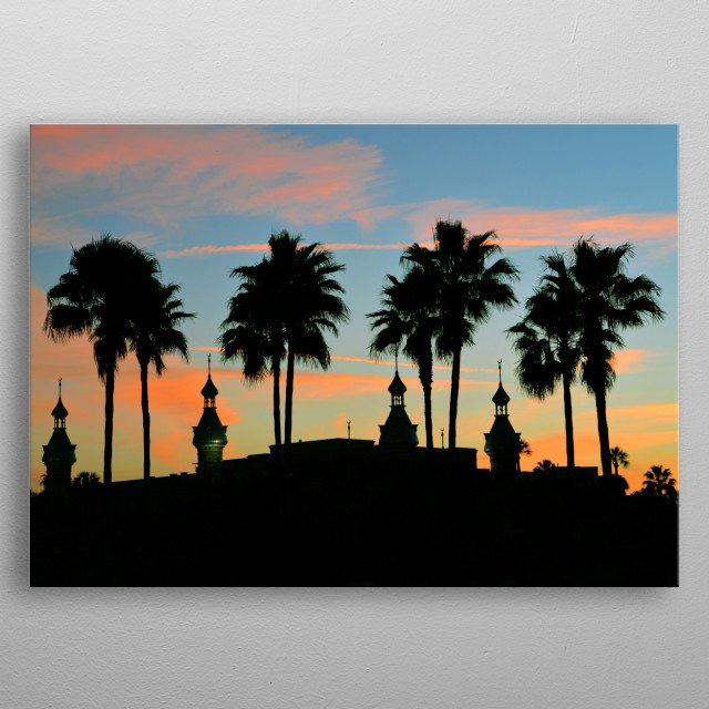 Photography of the University of Tampa campus buildings with minarets and palm trees in silhouette.  metal poster