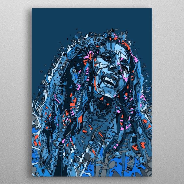 Portrait of Bob Marley inspired by decorative,drawing illustration,pop art design metal poster