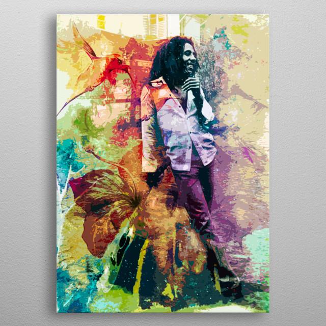 Ilustração inspirado na obra e vida de Bob Marley metal poster