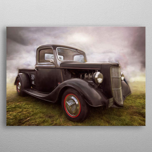 Gorgeous vitage black Ford Pickup taken at a recent vintage car meet and given the arty treatment metal poster