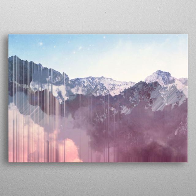 mountain glitches metal poster