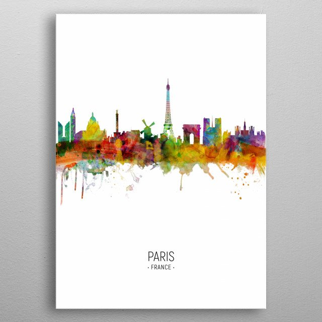 Watercolor art print of the skyline of Paris, France metal poster