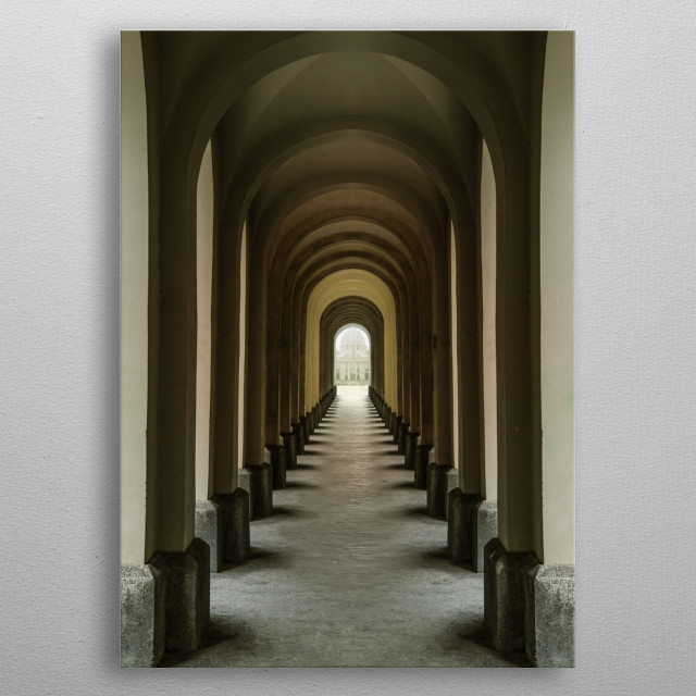 Passage with many arches.  metal poster
