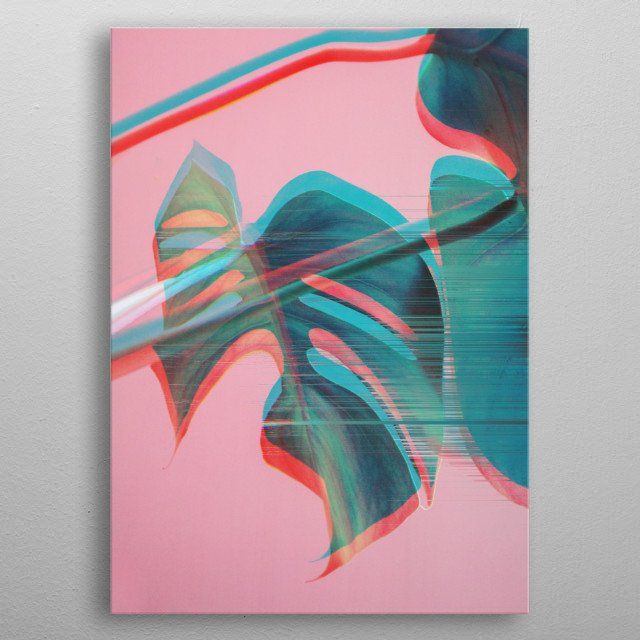 Monstera Glitches metal poster