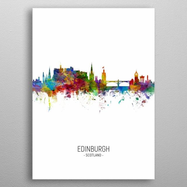 Watercolor art print of the skyline of Edinburgh, Scotland, United Kingdom metal poster
