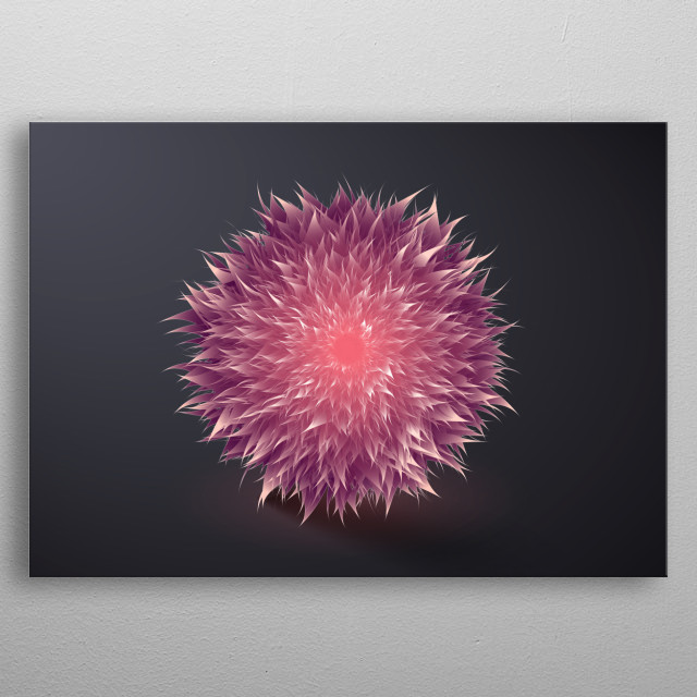 amazing abstract flower on dark background, inspired by beauty of nature and amazing floral colors  metal poster