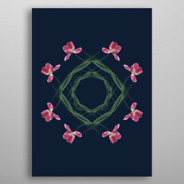 Collage of tulips on the dark blue background metal poster