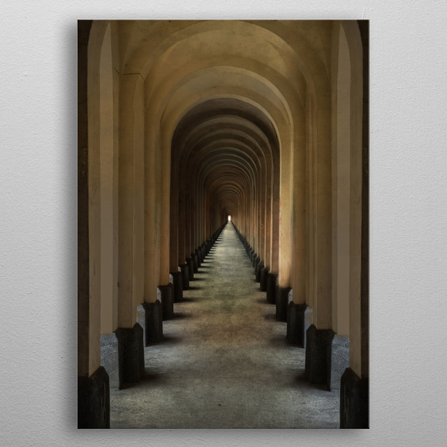 Passage with many columns and arches metal poster