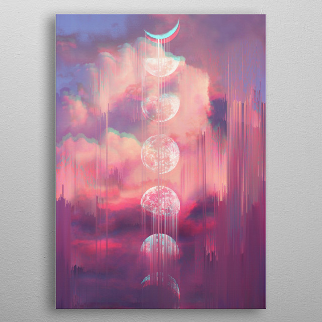 Moontime Glitches metal poster