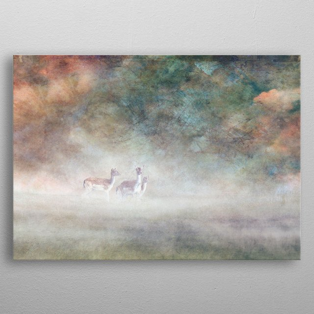 Two fallow deer with a young in foggy landscape metal poster