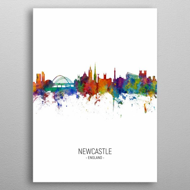 Watercolor art print of the skyline of Newcastle, England, United Kingdom metal poster