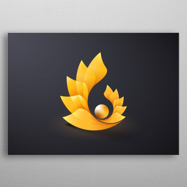 pearl covered with golden flower in harmony of colors and shapes, inspired by nature  metal poster