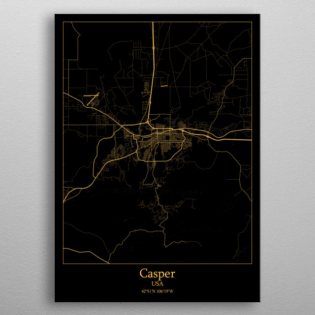 High-quality metal print from amazing Black & Gold City Maps collection will bring unique style to your space and will show off your personality. metal poster
