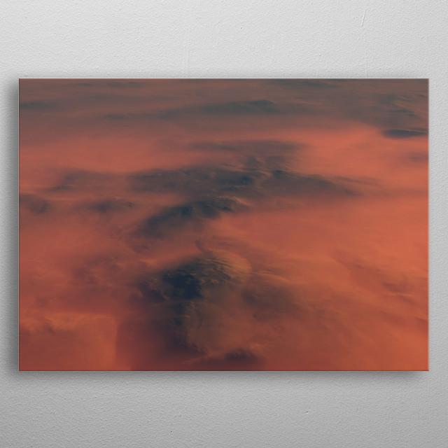 Aerial of mountain range in morning mist. metal poster