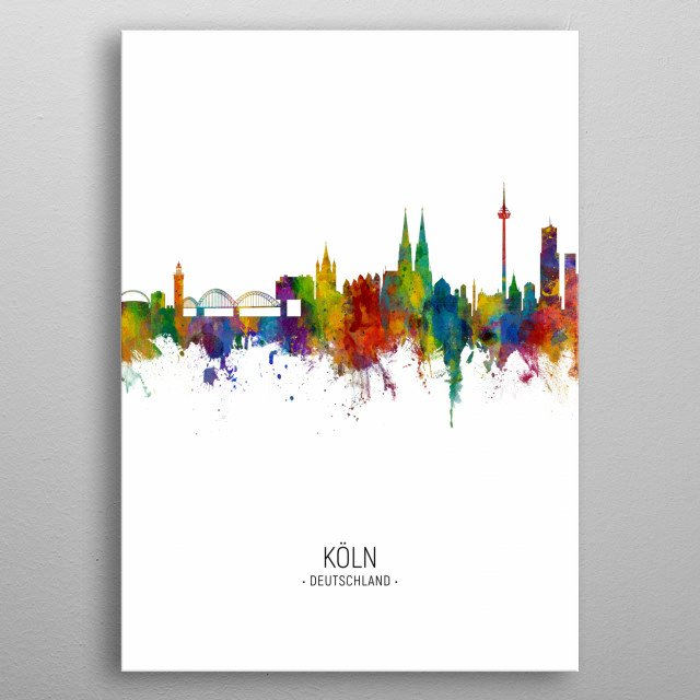 Watercolor art print of the skyline of Cologne, Germany (Koln)  metal poster