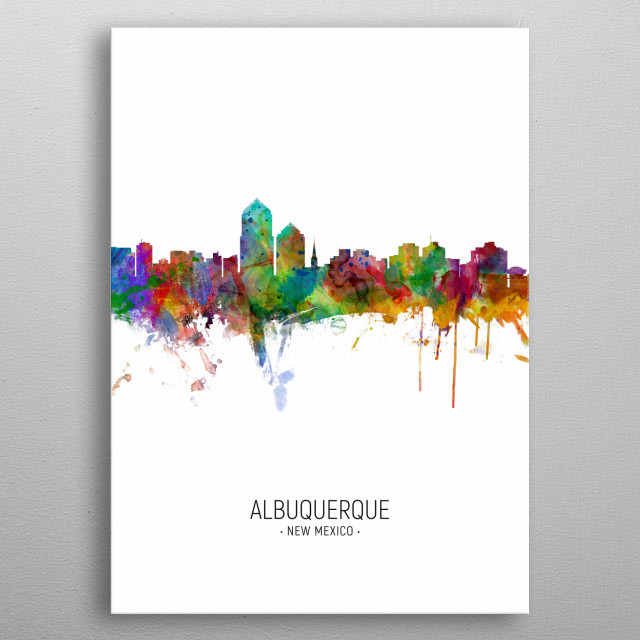 Watercolor art print of the skyline of Albuquerque, New Mexico, United States metal poster