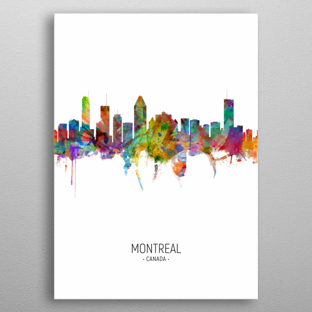 Watercolor art print of the skyline of Montreal, Canada metal poster