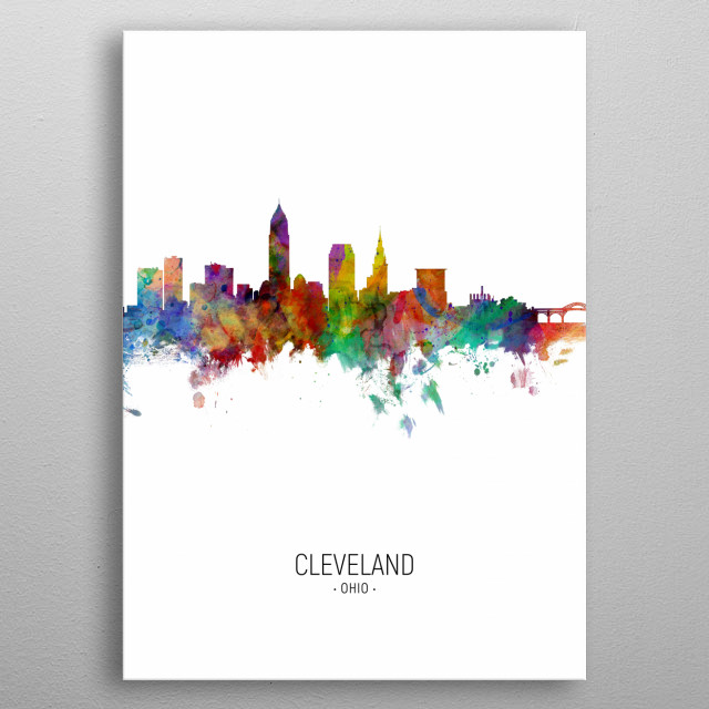 Watercolor art print of the skyline of Cleveland, Ohio, United States metal poster