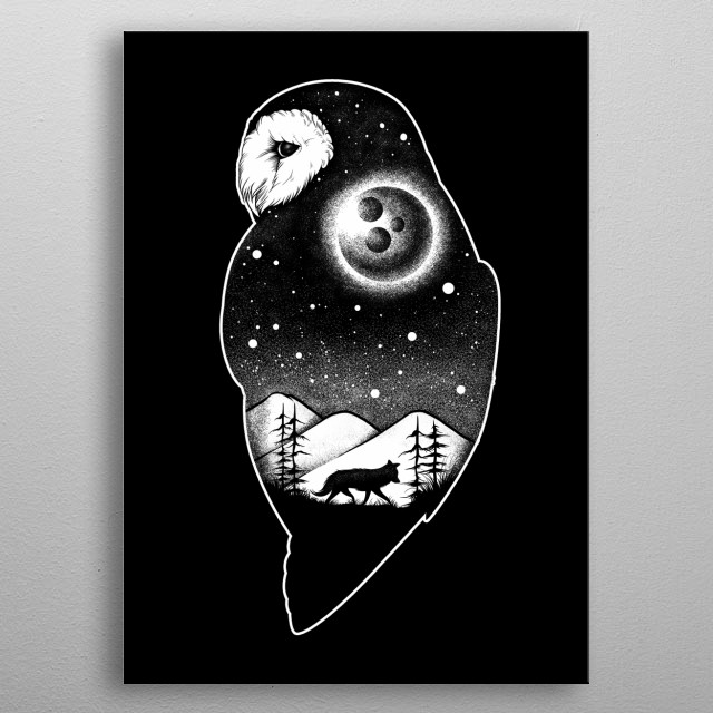 Wild night life. an owl and wolf illustration at night  metal poster