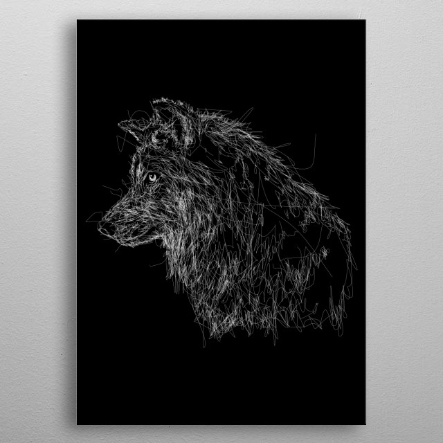 Wolf head in scribble art metal poster