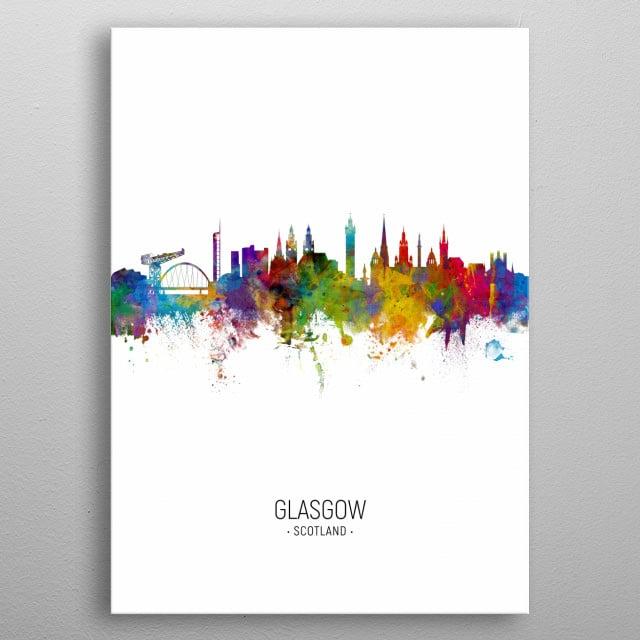 Watercolor art print of the skyline of Glasgow, Scotland, United Kingdom metal poster
