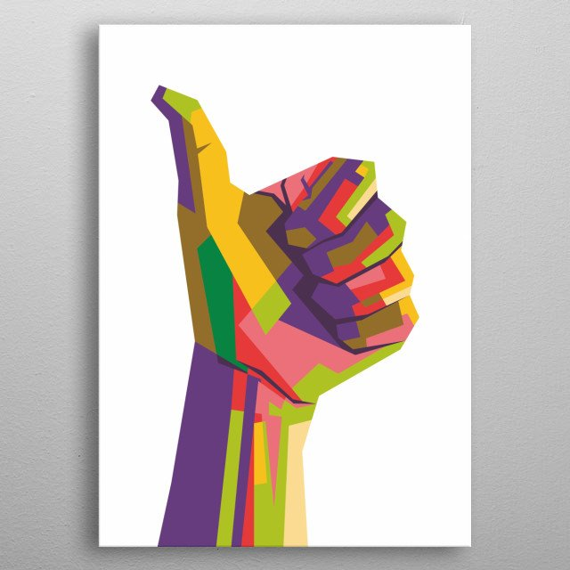 Pop art illustration of a thumb up hand gesture metal poster