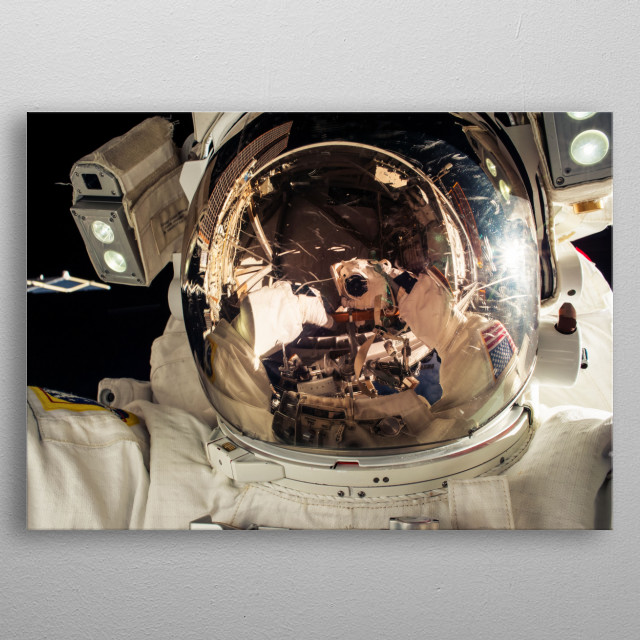 Taking a selfie in the space? No problem for a really cool astronaut. lets fly to the universum. metal poster