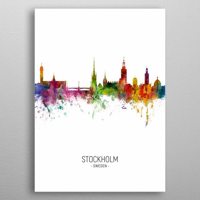 Watercolor art print of the skyline of Stockholm, Sweden (Sverige) metal poster