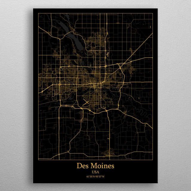 Des Moines  USA metal poster