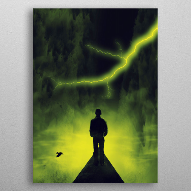 Surreal scenery in neon yellow  tones with a man standing on a road into a thunderstorm metal poster