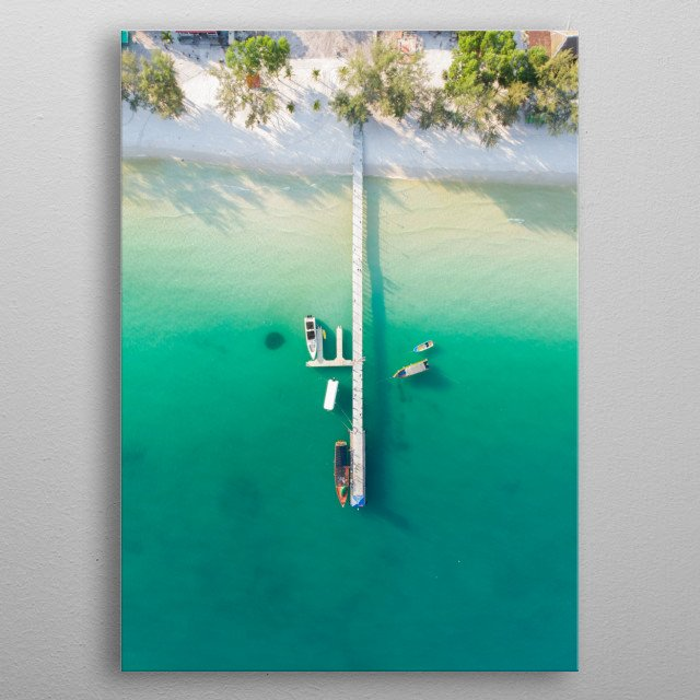 Tropical island dock and boats metal poster