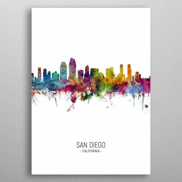 Watercolor art print of the skyline of San Diego, California, United States metal poster
