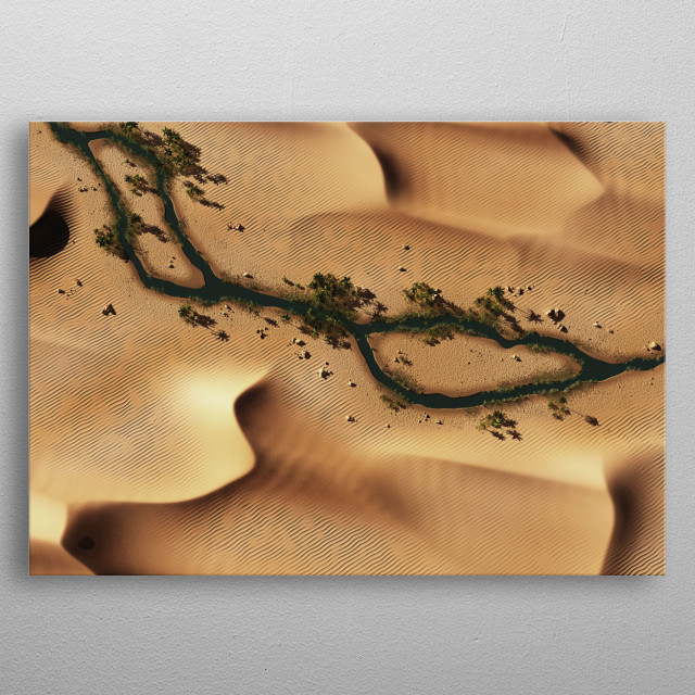 Aerial of sand dunes and river in desert. metal poster