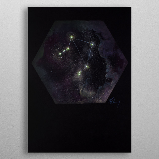 Libra is the 29th biggest in the sky, and the only zodiac sign to not represent a living creature.  metal poster