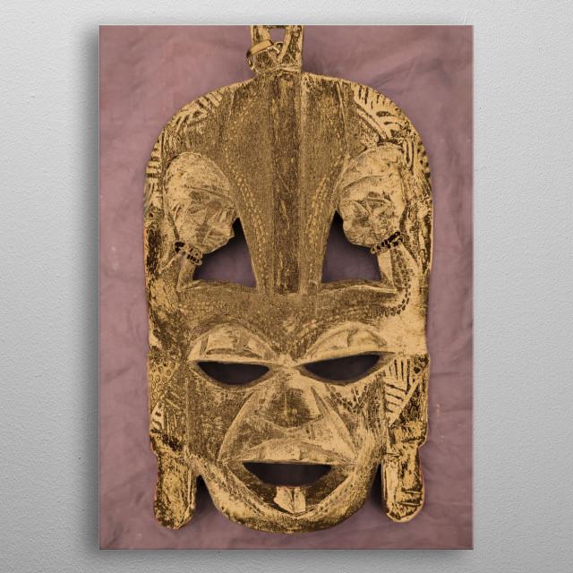 wooden tribal mask metal poster