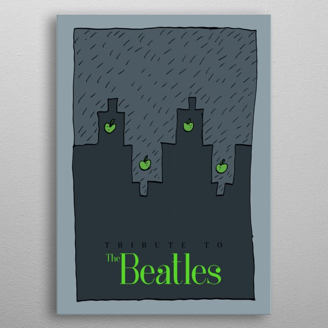 Abstract drawing and cartoon on a theme music of The Beatles. metal poster