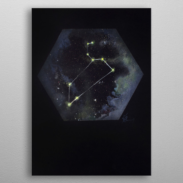 Leo the Lion is one of the easiest and brightest constellations in the night sky.  metal poster