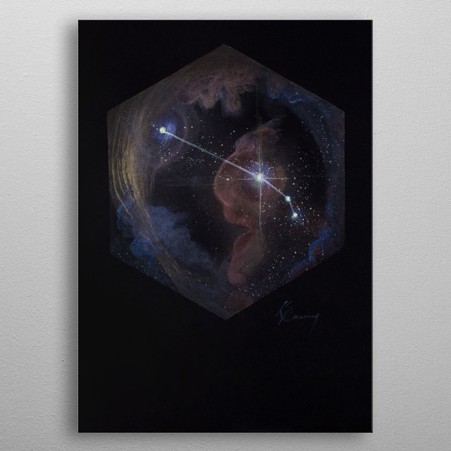 Aries the Ram, stands bold in the night sky following the long winters. metal poster