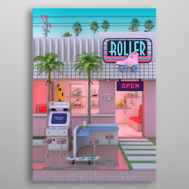 Retro Design That inspired by 80's /  90's Aesthetic Nostalgia and synthwave music. metal poster