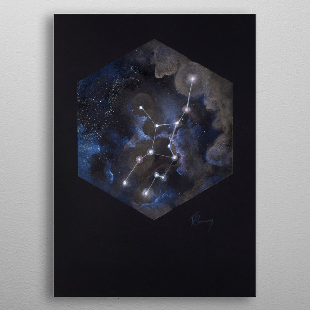 Virgo is the largest Zodiac, with dozens of known exoplanets and at least a dozen Messier objects. metal poster