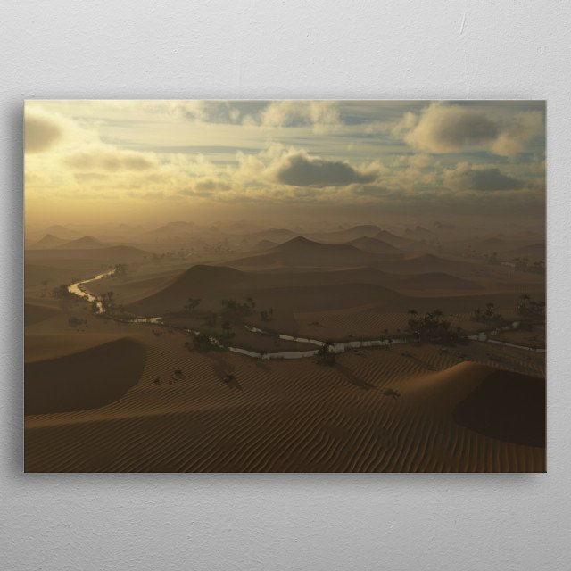 Aerial of foggy desert with sand dunes and river under cloudy sky. metal poster