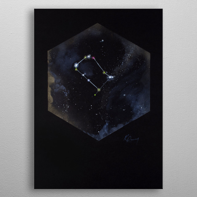 Gemini is named after twins Castor and Pollux in Greek mythology with most of its stars shining in many bright colors.  metal poster