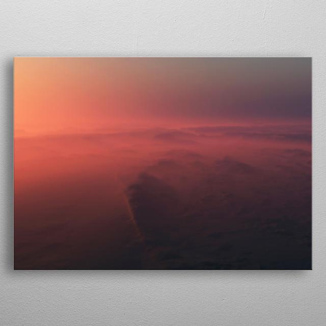 Aerial of mountain range in fog at sunrise. metal poster