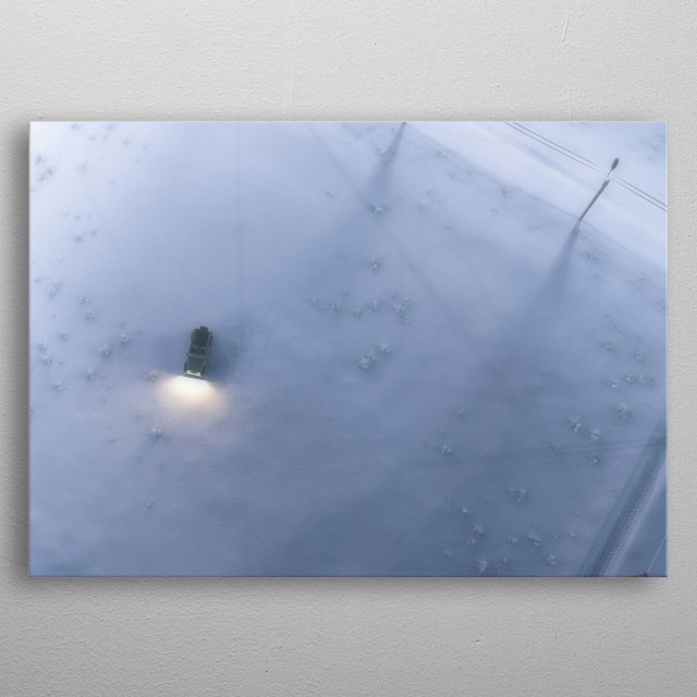 Aerial of lost jeep standing in snowy countryside. metal poster