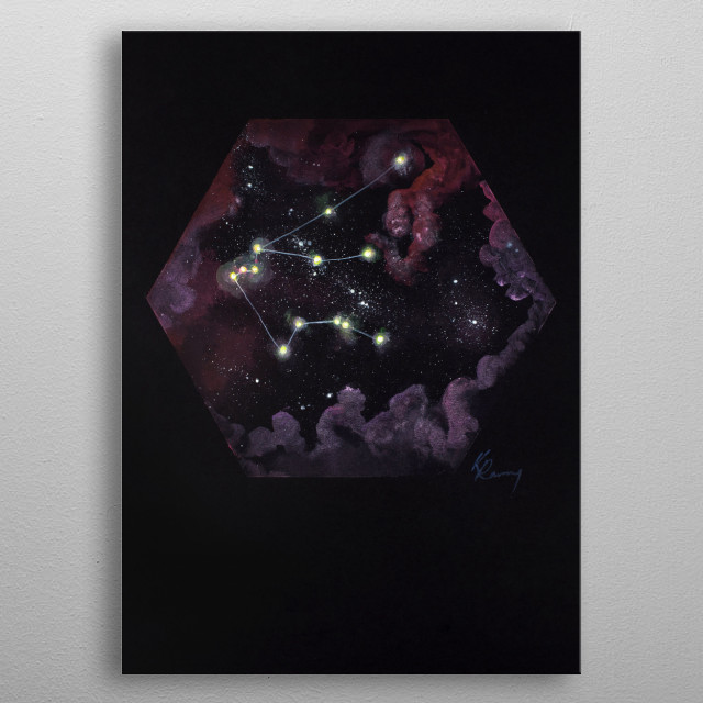 Aquarius' far reaching constellation goes with the flow, with many of its stars representing good luck and fortune through out history.  metal poster