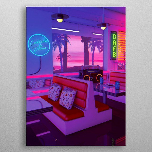 Retro Futuristic Design That inspired by synthwave music scene and 80s / 90s aesthetics Nostalgia. metal poster
