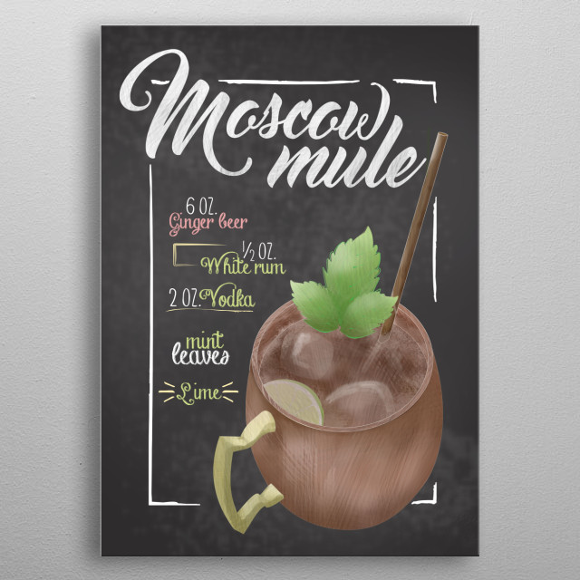 Cocktail Bar Moscow Mule A perfect refreshing drink for cocktail lovers. Perfect moscow mule recipe sign for home decor metal poster
