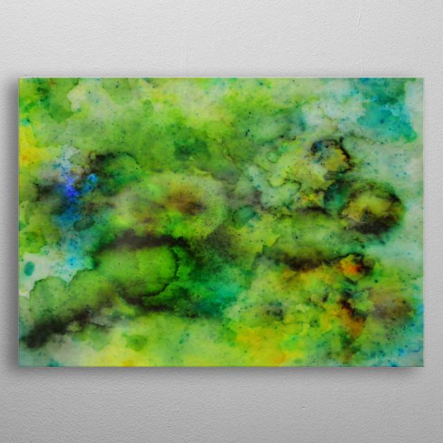 My original artwork in watercolour powders and ink coated in resin metal poster